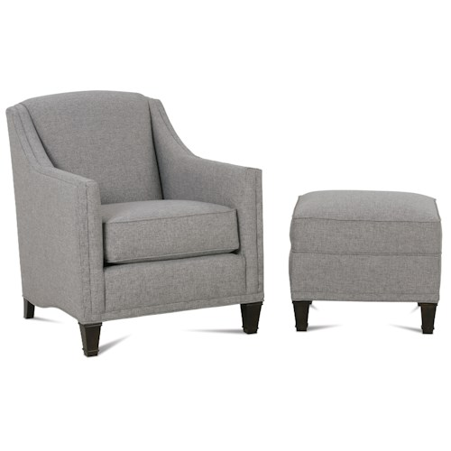 Rowe Gibson Upholstered Chair & Ottoman with Exposed Wood Feet