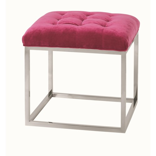 Rowe Gillian Contemporary Cube Ottoman with Tufted Seat and Metal Base