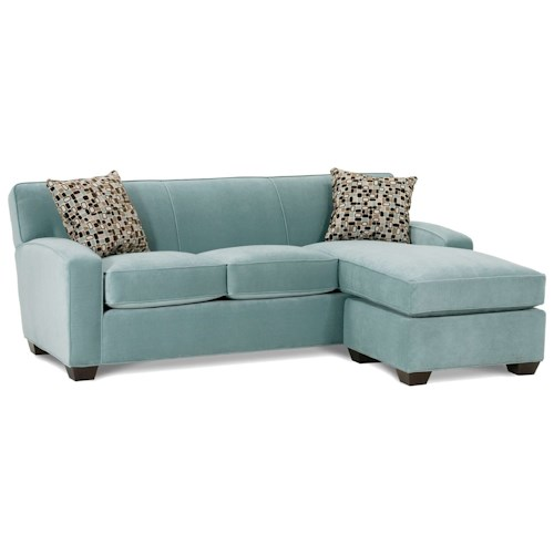 Rowe Horizon Transitional Sofa and Chaise with Wood Legs