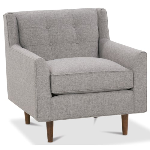 Rowe Kempner Chair with Button Tufting and Exposed Wood Legs