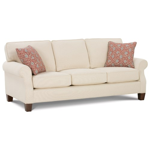 Rowe Kimball  Sofa with Rolled Arms & Exposed Wood Legs