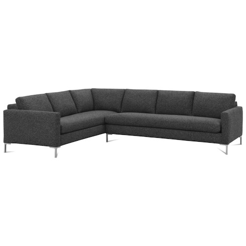 Rowe Modern Mix Contemporary Sectional Sofa with Straight Chrome Legs