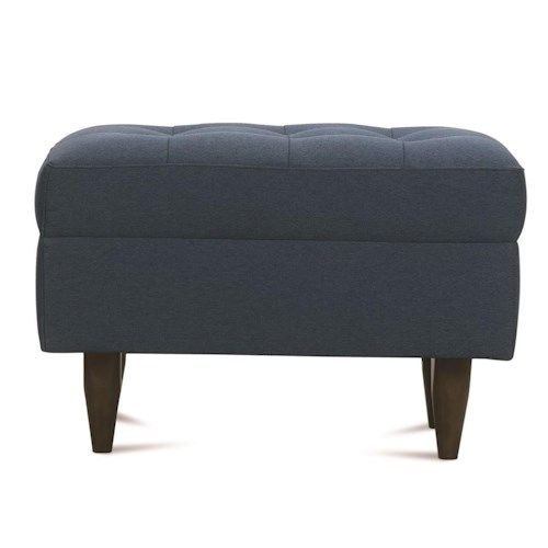 Rowe Modern Mix Contemporary Ottoman with Tapered Wood Feet