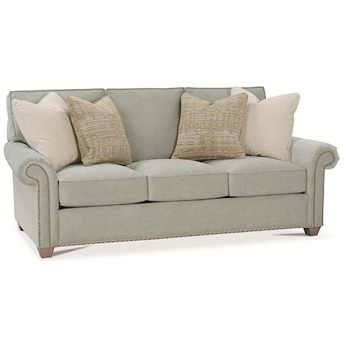 Rowe Morgan Traditional Stationary Sofa with Nailhead Trim