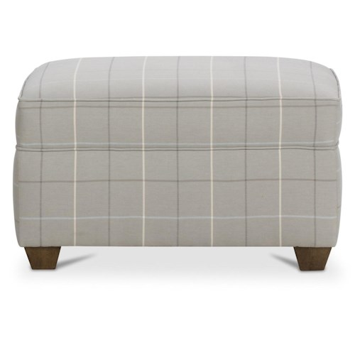 Rowe Morgan Traditional Ottoman with Small Tapered Wood Legs