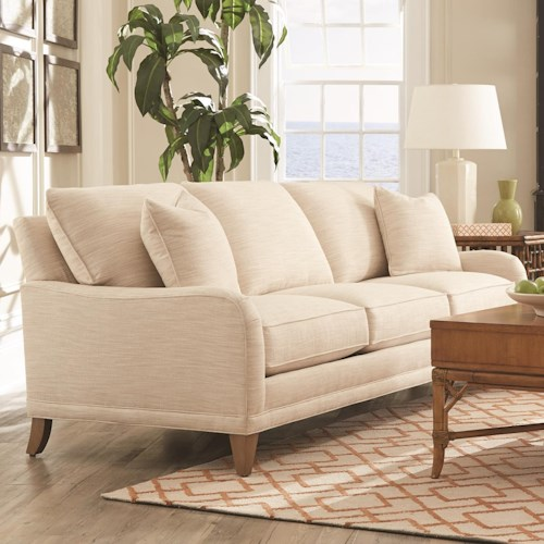 Rowe My Style I & II Transitional Sofa with Tapered Legs and English Arms