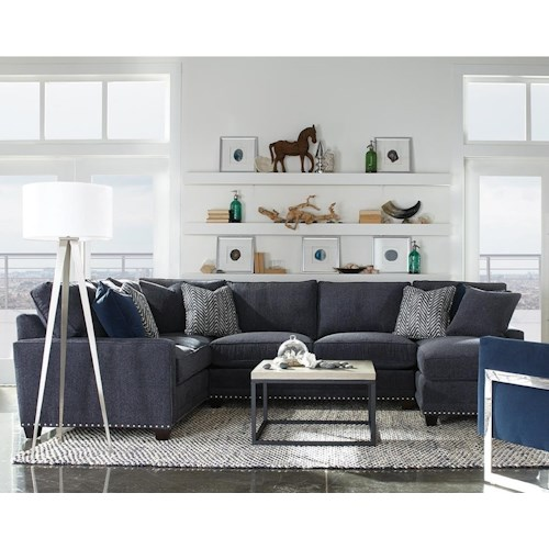 Rowe My Style I & II Transitional Sectional Sofa with Track Arms