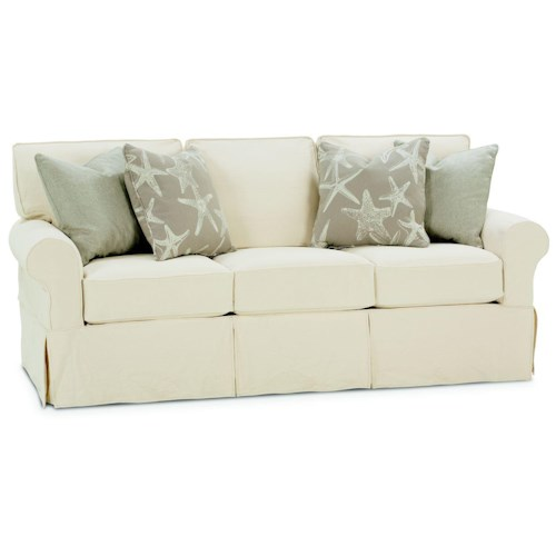 Rowe Nantucket  Casual Style Sofa with Two Accent Pillows