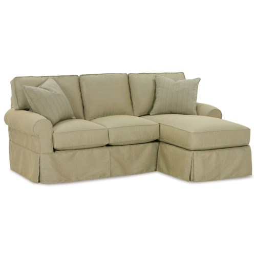 Rowe Nantucket  Casual Three Cushion Sofa Chaise with Rolled Arms