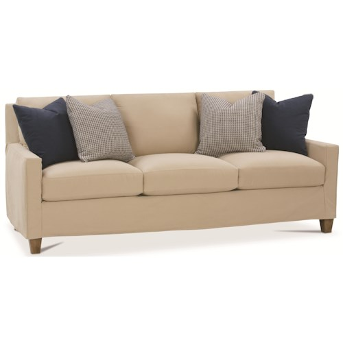 Rowe Norah Contemporary Slip Cover Sofa with Track Arms