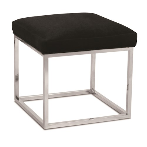 Rowe Percy Contemporary Accent Cube Ottoman with Metal Frame