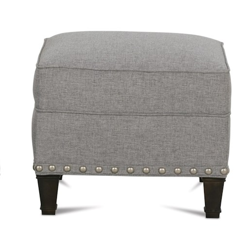 Rowe Rockford Traditional Upholstered Ottoman with Nailhead Trim