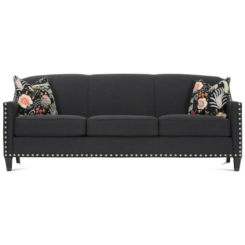 Rowe Rockford Traditional Upholstered Sofa with Nailhead Trim & Exposed Wood Feet