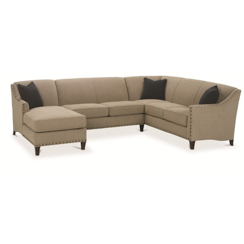 Rowe Rockford Traditional 3 Piece Sectional with Chaise
