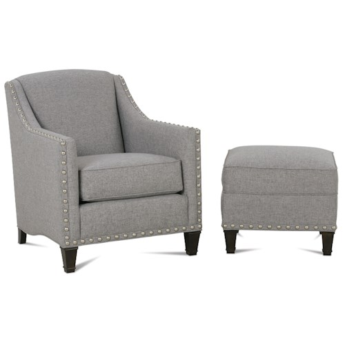 Rowe Rockford Traditional Upholstered Chair & Ottoman with Nailhead Trim & Exposed Wooden Legs