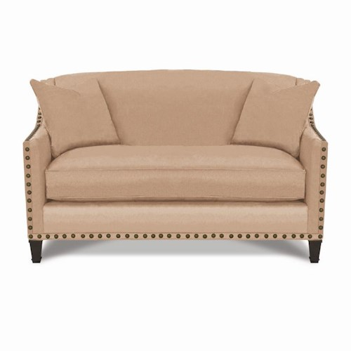 Rowe Rockford Traditional Settee with Nailhead Trim & Exposed Wood Legs