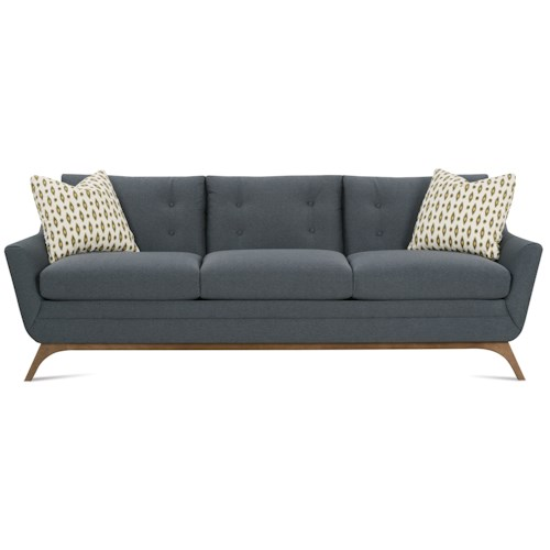 Rowe Simon Contemporary Sofa with Flared Wood Legs and Tufted Back
