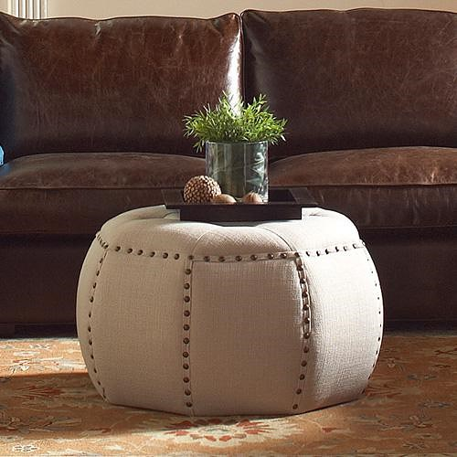 Sam Moore Banner Transitional Pouf Ottoman with Nailhead Trim