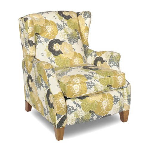 Sam Moore Abington Casual Reclining Chair with Wing Back and Exposed Wood Legs
