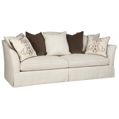 Sam Moore Angelina Transitional Scatterback Sofa with Flair-Tapered Arms and Skirt