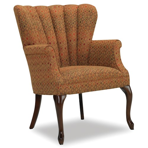 Sam Moore Annabelle Traditional Queen Anne Barrel Chair with Channel Back and Cabriole Legs