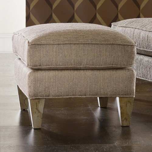 Sam Moore Arden Transitional Ottoman with Welt Cords and Tapered Block Feet