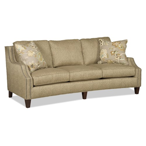 Sam Moore Austin Contemporary Three Over Three Sofa with Nailhead Trim