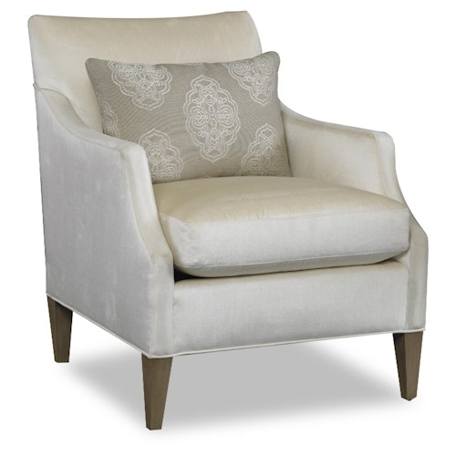 Sam Moore Azriel Casual Club Chair with Exposed Wood Feet and English Arms