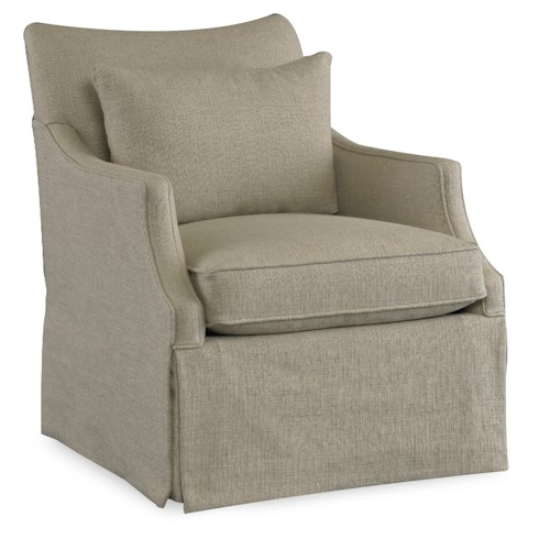 Sam Moore Azriel Casual Swivel Glider Chair with English Arms and Waterfall Skirt