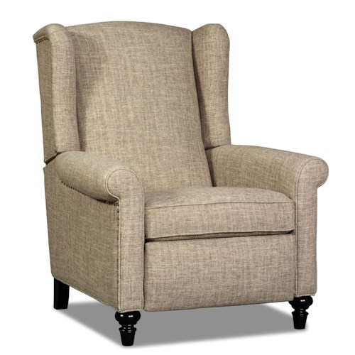 Sam Moore Bondi Traditional High Leg Recliner with Turned Legs and Nailhead Trim