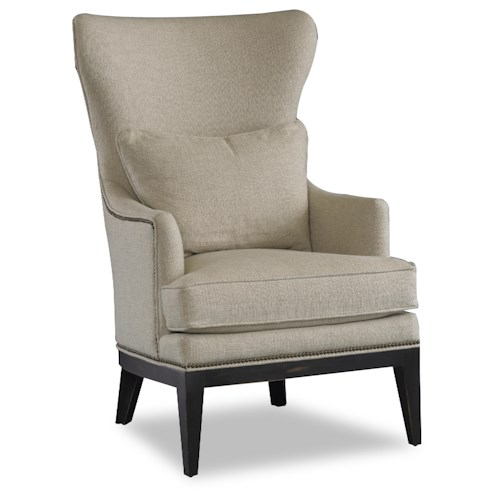 Sam Moore Bryn Transitional Wing Chair with English Arms and Exposed Wood Legs