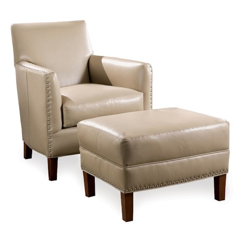 Sam Moore Calvin Leather Chair & Ottoman with Nailhead Trim
