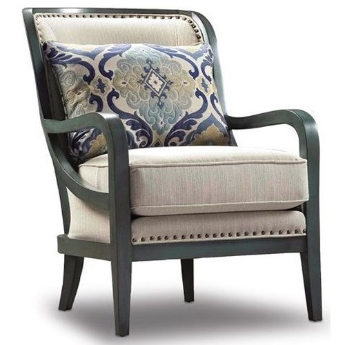 Sam Moore Carlisle Modern Exposed Wood Chair with Nailhead Studs