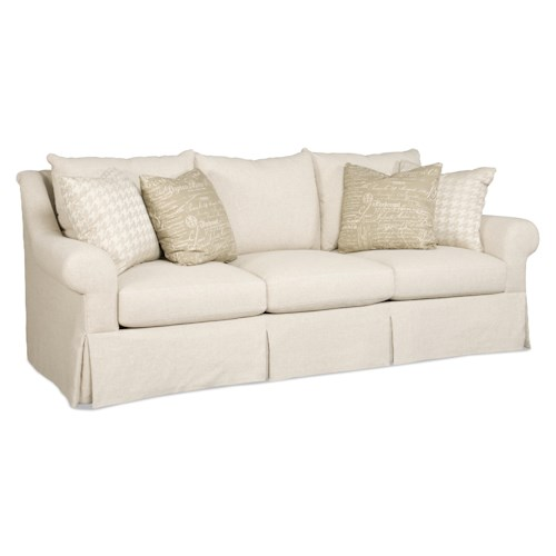 Sam Moore Carson Traditional Skirted Three Over Three Sofa