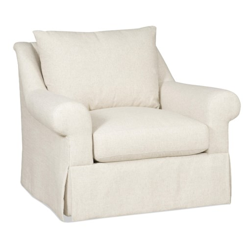 Sam Moore Carson Traditional Skirted Chair with Rolled Arms