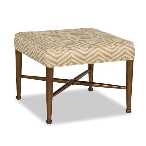 Sam Moore Clover Transitional Ottoman with Tapered Wood Legs and X Stretcher