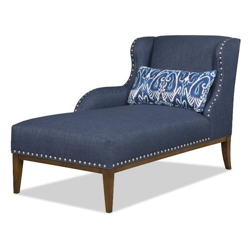 Sam Moore Cosette Transitional LAF One Arm Chaise with Nailhead Trim