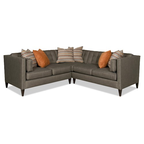 Sam Moore Eaton Contemporary Two Piece Sectional Sofa with Nailhead Trim