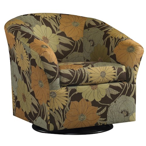 Sam Moore Edgar Casual Swivel Chair with Flair Tapered Arms