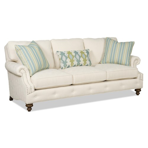 Sam Moore Emma Traditional Three-Over-Three Sofa with Rolled Arms and Nailhead Trim