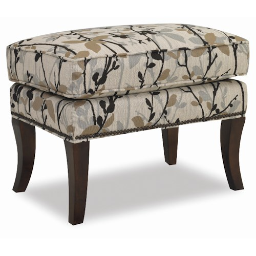 Sam Moore Hamlin Ottoman with Tapered Wood Feet