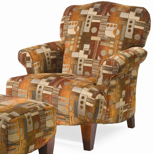 Sam Moore Inga Pressback Chair with Rolled Arms and Wood Feet