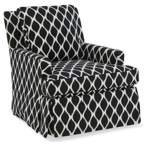 Sam Moore Iris Transitional Swivel Chair with Waterfall Skirt