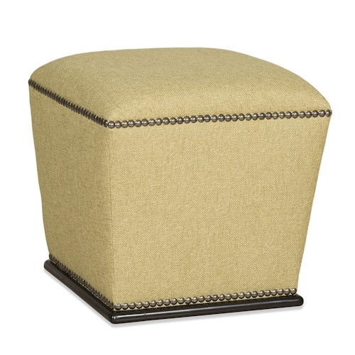 Sam Moore Juniper Transitional Accent Ottoman with Plinth Base and Nailhead Trim