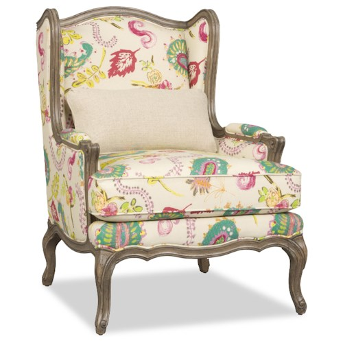 Sam Moore Kelsea Traditional Exposed-Wood Wing Chair