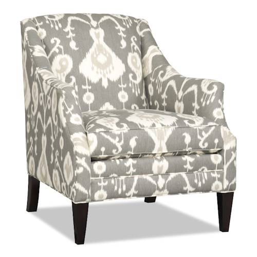 Sam Moore Lark Transitional Club Chair with Flair-Tapered Arms and Wood Legs