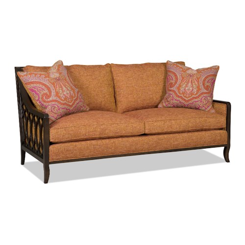 Sam Moore Myla Two Over Two Sofa with Exposed Wood Lattice Arms