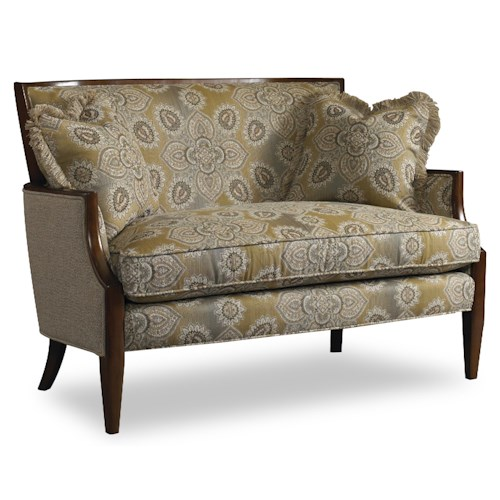 Sam Moore Nadia Contemporary Settee with Sloped Arms and Exposed Wood Trim