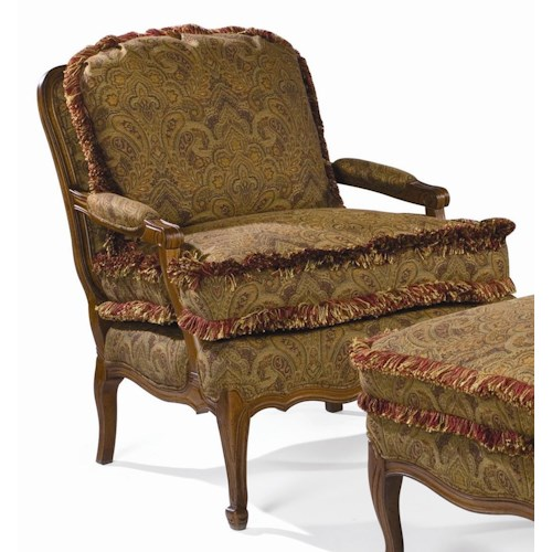 Sam Moore Pierre Exposed Wood Chair with Fringe Welt Detail