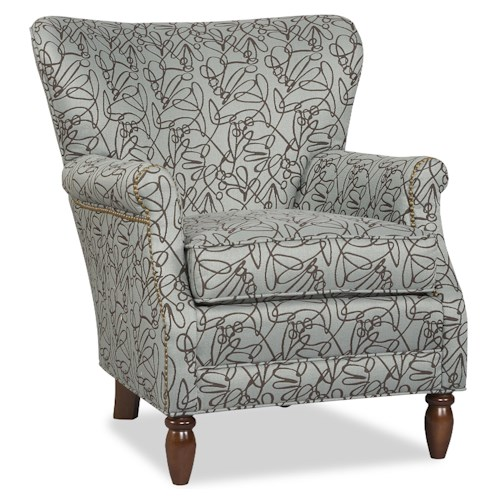 Sam Moore Ricci Transitional Wing Chair with Slim Rolled Arms and Nailheads